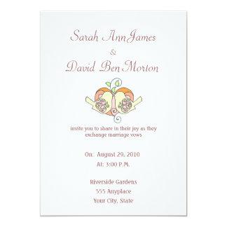 オレンジモモの聖なる書物、経典の鳥の花のハートの結婚 カード