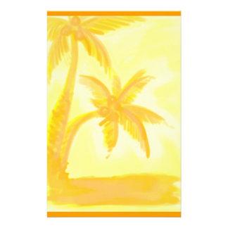 オレンジヤシの木の水彩画の静止した紙 便箋