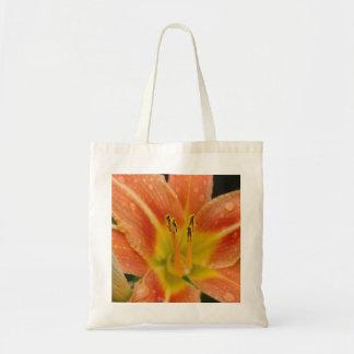 オレンジユリの写真のイメージの予算の戦闘状況表示板の買い物袋 トートバッグ