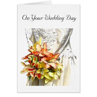 オレンジユリの花束を持つ花嫁 カード