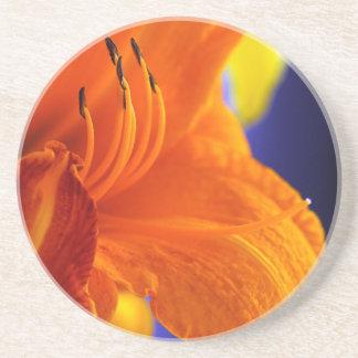 オレンジユリの花束 コースター