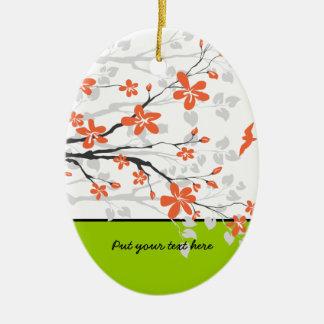 オレンジライムグリーンのマグノリアの花のオーナメント セラミックオーナメント