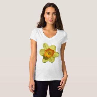 オレンジラッパスイセンのV首のTシャツとの黄色 Tシャツ