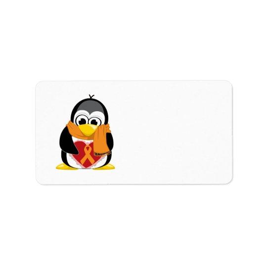 オレンジリボンのペンギンのスカーフ 宛名ラベル