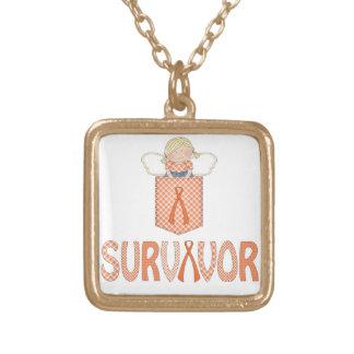 オレンジリボンの生存者の魅力のネックレスの白血病RSD ゴールドプレートネックレス