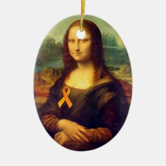 オレンジリボンを持つモナ・リザ セラミックオーナメント