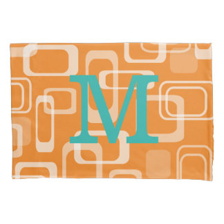 オレンジレトロのプリントのモノグラムのな枕カバー 枕カバー