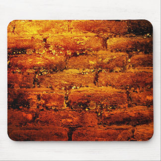 オレンジレンガ壁のmousepad マウスパッド