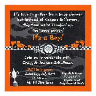 オレンジレースカーのベビーシャワー招待状 カード
