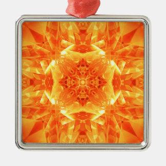 オレンジ万華鏡のように千変万化するパターン メタルオーナメント