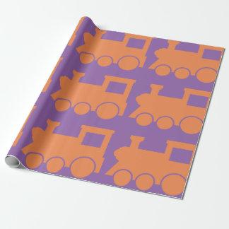 オレンジ列車の無光沢の包装紙 ラッピングペーパー