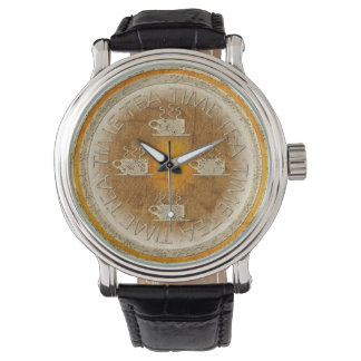 オレンジ勾配の茶時間金ゴールド 腕時計