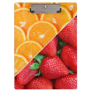 オレンジ及びいちごのコラージュ クリップボード