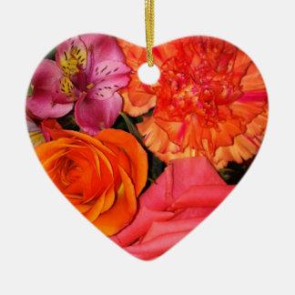 オレンジ及びピンクのバラの花束 セラミックオーナメント