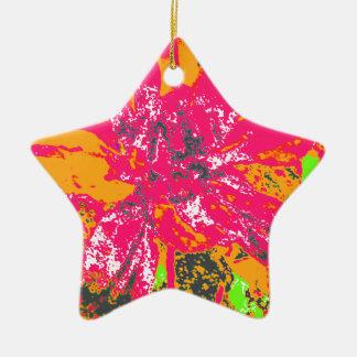 オレンジ及びピンクの花のダリアの花模様 陶器製星型オーナメント