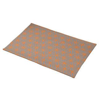 オレンジ及び灰色の写実的な円ラインデザイン ランチョンマット