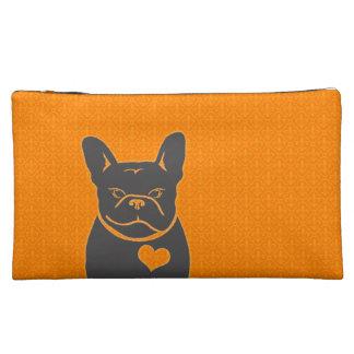 オレンジ及び灰色FRENCHIEの(紋章の)フラ・ダ・リ コスメティックバッグ