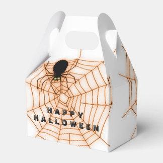 オレンジ及び白いハロウィンの蜘蛛の巣の好意箱 フェイバーボックス