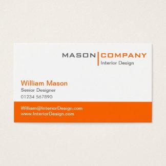 オレンジ及び白い法人企業カード 名刺
