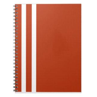 オレンジ及び白のストライブ柄のノート ノートブック