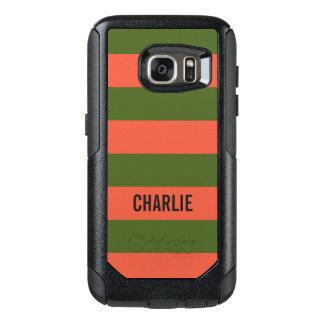 オレンジ及び緑のストライプの名前をカスタムするの電話箱 オッターボックスSamsung GALAXY S7ケース