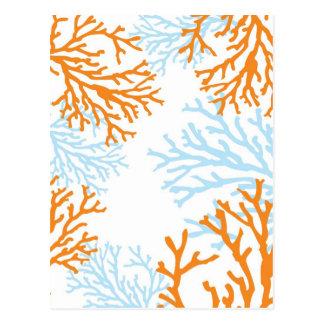 オレンジ及び青の珊瑚の郵便はがき ポストカード