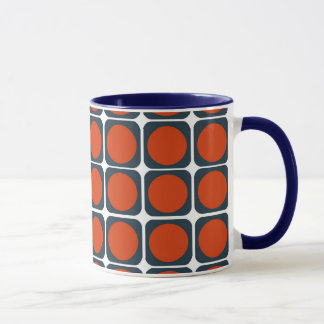 オレンジ及び青の70sレトロパターン マグカップ