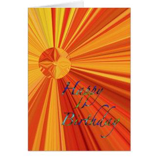 オレンジ及び黄色の日が差すことを流すハッピーバースデー カード