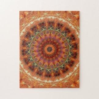 オレンジ地球の万華鏡のように千変万化するパターンの曼荼羅のジグソーパズル ジグソーパズル