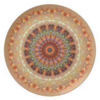オレンジ地球の万華鏡のように千変万化するパターンの曼荼羅のプレート プレート