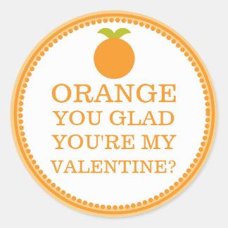 オレンジ嬉しいあなたは私のバレンタインの友人のフルーツ ラウンドシール