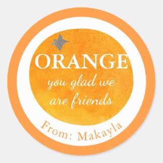 オレンジ嬉しい私達は友人のフルーツのバレンタインの子供です ラウンドシール