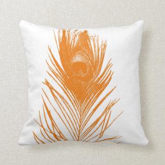 オレンジ孔雀の羽 クッション