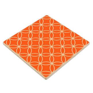 オレンジ幾何学的設計の重複の円 ウッドコースター