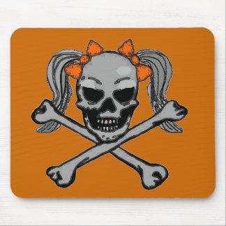 オレンジ弓とのポニーテールのどくろ印 マウスパッド