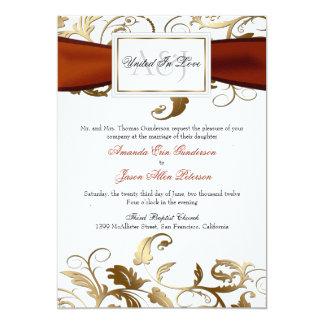 オレンジ弓との金ゴールドの花の招待 カード