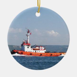 オレンジ引っ張りのボート セラミックオーナメント