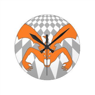 オレンジ悪魔 ラウンド壁時計