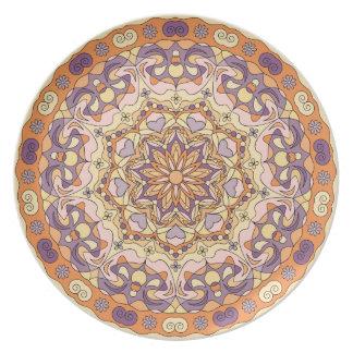 オレンジ抽象的な円パターンメラミンプレート プレート