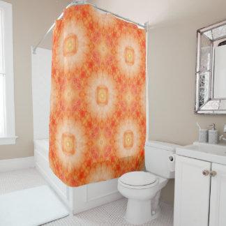 オレンジ明るい曼荼羅 シャワーカーテン