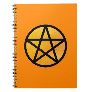 オレンジ星形五角形のノート ノートブック