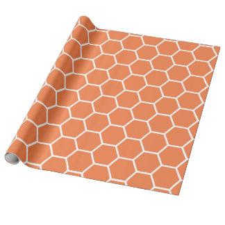 オレンジ春の蜂蜜の櫛パターン ラッピングペーパー