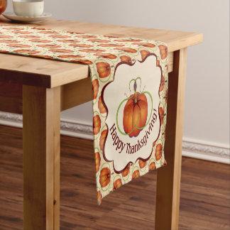 オレンジ曲線のカボチャ秋パターン ショートテーブルランナー