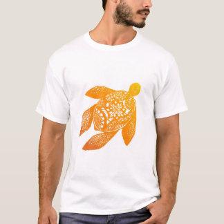 オレンジ曼荼羅のカメ Tシャツ