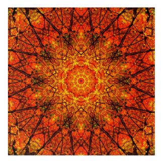 オレンジ曼荼羅の芸術 アクリルウォールアート