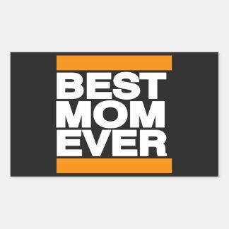 オレンジ最も最高のなお母さん 長方形シール