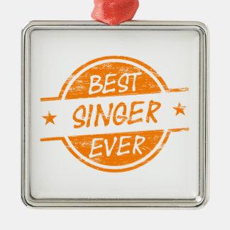 オレンジ最も最高のな歌手 メタルオーナメント