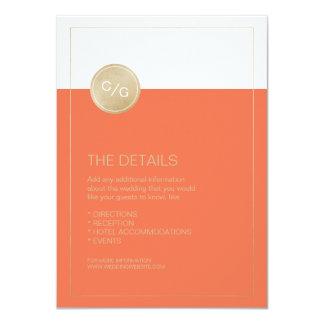 オレンジ最小主義のモダンな結婚式の明細カード 11.4 X 15.9 インビテーションカード