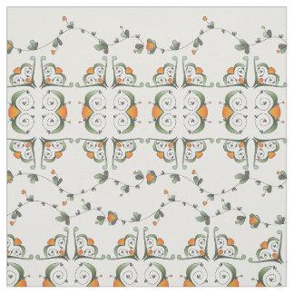 オレンジ果樹園のフォーク ファブリック