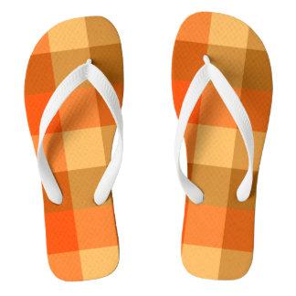 オレンジ格子縞のビーチサンダル ビーチサンダル